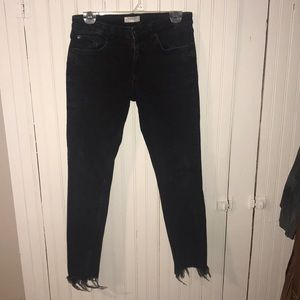 Zara Woman Black Distressed/Frayed Jeans